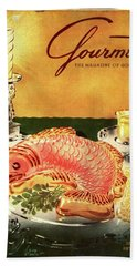 Gourmet Cover Illustration Of Salmon Mousse Bath Towel