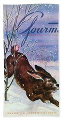 Gourmet Cover Of A Rabbit On Snow Hand Towel
