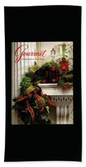 Gourmet Magazine Cover Featuring Christmas Garland Bath Towel