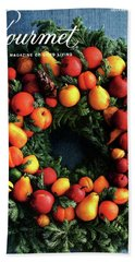 Gourmet Magazine Cover Featuring Marzipan Wreath Bath Towel