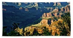 Hand Towel featuring the photograph Grand Canyon  Golden Hour On Angel Point by Bob and Nadine Johnston