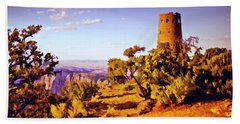 Hand Towel featuring the painting Grand Canyon National Park Golden Hour Watchtower by Bob and Nadine Johnston
