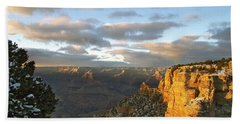 Grand Canyon. Winter Sunset Bath Towel by Ben and Raisa Gertsberg