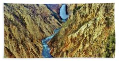 Bath Towel featuring the photograph Grand Cayon Of The Yellowstone River by Benjamin Yeager