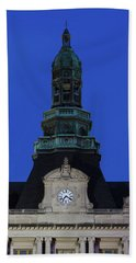 Grand Island Courthouse At Dusk, Grand Hand Towel
