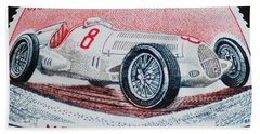 Grand Prix De Monaco 1936 Vintage Postage Stamp Print Bath Towel