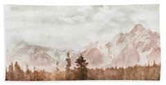 Bath Towel featuring the painting Grand Teton Mountains by Greg Collins