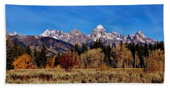 Bath Towel featuring the photograph Grand Teton Panorama by Benjamin Yeager