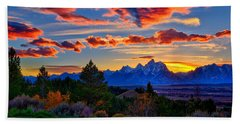 Hand Towel featuring the photograph Grand Teton Sunset by Greg Norrell