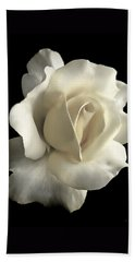 Bath Towel featuring the photograph Grandeur Ivory Rose Flower by Jennie Marie Schell