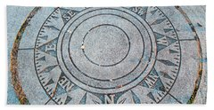Hand Towel featuring the photograph Granite Compass by Barbara McDevitt