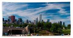Grant Park Chicago Skyline Panoramic Hand Towel by Adam Romanowicz