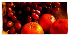 Bath Towel featuring the photograph Grapes And Tangerines by Greg Allore