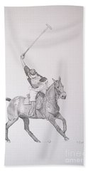 Graphite Drawing - Shooting For The Polo Goal Hand Towel