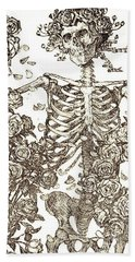 Gratefully Dead Skeleton Bath Towel by Kelly Awad