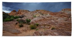 Gray And Red In The Valley Of Fire Hand Towel