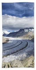 Great Aletsch Glacier Swiss Alps Switzerland Europe Bath Towel