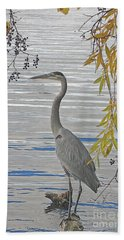 Bath Towel featuring the photograph Great Blue Heron by Ann Horn