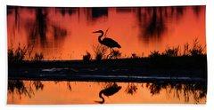 Great Blue Heron At Sunrise Bath Towel