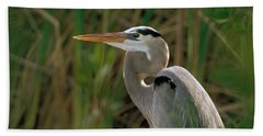 Hand Towel featuring the photograph Great Blue Heron by Doug Herr
