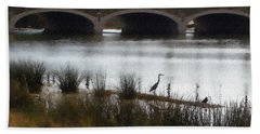 Bath Towel featuring the photograph Great Blue Heron by Ellen Tully