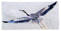 Hand Towel featuring the photograph Great Blue Heron by John Freidenberg