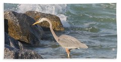Great Blue Heron On The Prey Hand Towel by Christiane Schulze Art And Photography