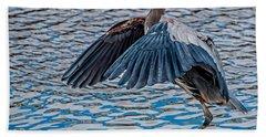 Great Blue Heron Pose Hand Towel