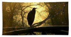 Great Blue Heron Silhouette Hand Towel by Brian Chase