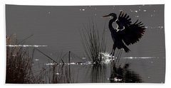 Great Blue Heron Silhouette Bath Towel