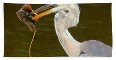 Great Blue Heron With Stingray Bath Towel