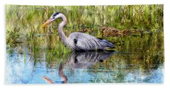 Great Blue Hunter Hand Towel by Barbara Chichester
