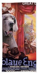 Great Dane Art Canvas Print - Der Blaue Engel Movie Poster Hand Towel
