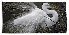 Great Egret Preening Hand Towel