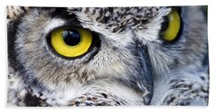 Great Horned Closeup Hand Towel by Dee Cresswell