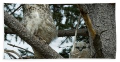 Great Horned Owls Bath Towel