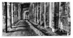 Great Northern Railroad Snow Shed - Black And White Bath Towel