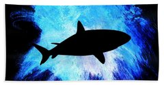 Blue Bath Towel featuring the painting Great White by Aaron Berg