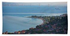 Greece. The Rioantirrio Bridge Bath Towel