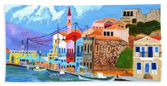 Bath Towel featuring the painting Greek Coast by Magdalena Frohnsdorff