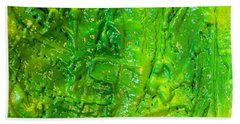 Green Abstract Painting  Bath Towel