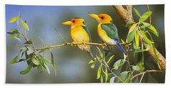 Green And Gold - Yellow-billed Kingfishers Hand Towel