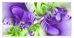 Green And Purple Hand Towel by Lena Auxier