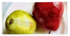 Green And Red Pears Still Life Bath Towel by Louise Kumpf