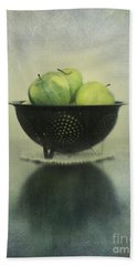 Green Apples In An Old Enamel Colander Hand Towel