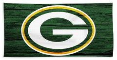 Bath Towel featuring the digital art Green Bay Packers Barn Door by Dan Sproul