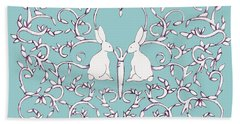 Green Blue Rabbits Leaves Hand Towel by Donna Huntriss