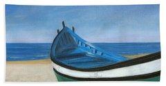 Green Boat Blue Skies Bath Towel