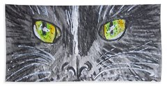 Hand Towel featuring the painting Green Eyes Black Cat by Kathy Marrs Chandler