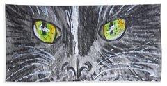 Green Eyes Black Cat Bath Towel by Kathy Marrs Chandler